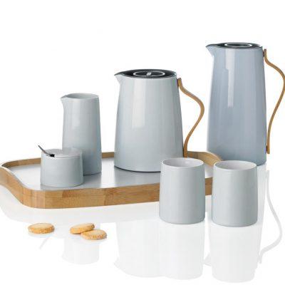 Stelton Emma Teekanne Kaffeekanne Isolierkanne Holzgriff hellblau Reutlingen Zucker Milch Lukaszewitz